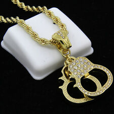 """Mens Gold Plated Hip-Hop Handcuffs Iced Cz Pendant 30"""" Rope Chain Necklace F64"""