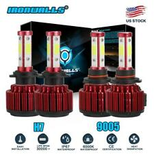 4-Side 9005 H7 LED Headlight Bulbs Kit For Mazda 3 2004-2006 Protege 5 2002-2003