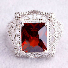 Women Jewelry Gift Emerald Cut Red Garnet Solitaire Gemstone Silver Ring Size 7