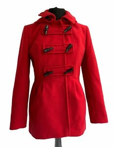 LOUCHE Red Coat Size 12 Duffle Toggles Detachable Hood Midi Outdoor Casual