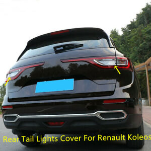 For Renault Koleos 2017-2020 Chrome Exterior Rear Tail Lights Lamp Cover 4PCS