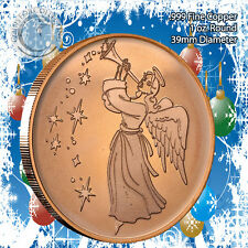 """""""Angel"""" Christmas Design 1oz .999 Copper round with Tree Back"""
