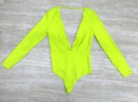 NWT American Apparel Women's V Neck Long Sleeve Bodysuit Neon Yellow Size LARGE