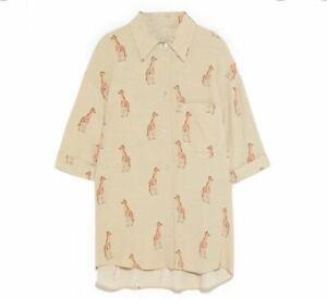 Zara Giraffe Print Beige Button shirt