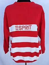 Vintage Esprit Sweater Womens M Medium 100% Cotton Embroidered Red Striped 1992