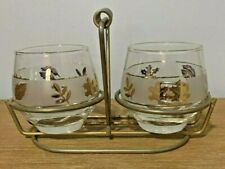Vintage Libbey glass gold leaf cream and sugar with caddy holder