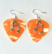 Orange Guitar Pick Music Pendant Earrings Jewellery Costume Glam Rock plectrum