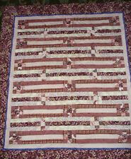 "ALL COTTON HANDMADE LAP QUILT, WALL HANGING,  44""X 49"" , PEACH & MAROON"