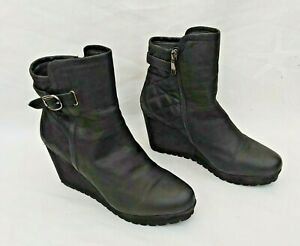 """MODA IN PELLE BLACK LEATHER 3.5"""" HEEL PLATFORM QUILTED ANKLE BOOTS UK7 FREE P&P!"""