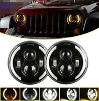 2pcs 7inch Round Headlight Projector Light High Low Dual Beam For 4x4 Truck Car