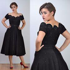 VTG 50s Black LACE + Rhinestone FULL CIRCLE SKIRT Wedding Party Prom DRESS S-M