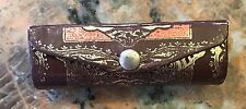 """Vintage Italy Leather Lipstick Case with Mirror 3.25"""""""