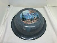 "Vtg. Graniteware Gray Speckled 12"" Wash Basin/Pan Primitive Enamelware Artwork"