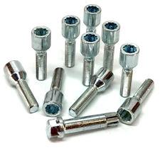 10 x car wheel tuner bolts M12 x 1.5 extended thread 40mm + key - Renault