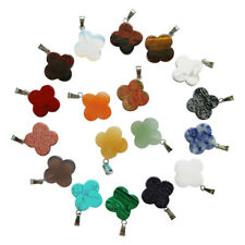 25pcs Four Leaf Lucky Clover Natural quartz stone pendant Charms for jewelry