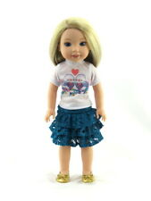 "Love Birds Teal Skirt Set Fits Wellie Wishers 14.5"" American Girl Clothes"