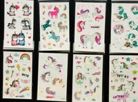Girls Unicorn Pony Temporary Tattoos Lot of 8 Party Gift DIY lolly loot bag
