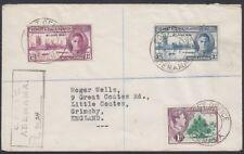 GILBERT & ELLICE, 1949. Reg Cover 41,52,53, Abemama- Grimsby, U.K.