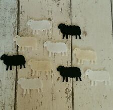 10 Felt Sheep / Lambs, die cut for craft and embellishment, white black natural