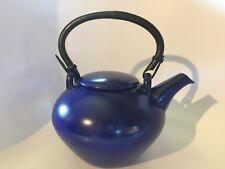 Hoganas Keramik COBALT BlUE Large Ceramic Teapot Sweden  Mid Century Modern EXC