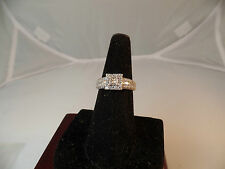 DIAMOND ENGAGEMENT RING .50 CTW PRINCESS CUT 14K WHITE GOLD sz.7.15