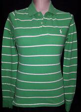 Ralph Lauren Womens Polo Long Sleeve Skinny Shirt Blouse Sz S Small Green White