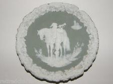❤ Antique Schafer & Vater Jasperware Plate Plaque Horn Blower Trumpeter Horse ❤
