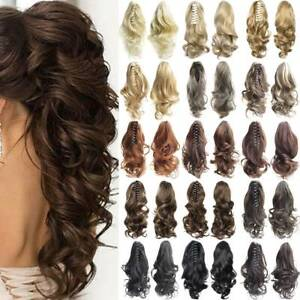 Lady Wig Curly Wavy Clip Crimps In Ponytail Pony Tail Claw Hair Piece Wave Roll