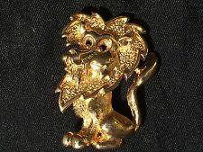 Vintage HEDY Signed Gold Tone LION Shape Pin Brooch