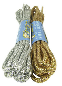 ROUND GOLD OR SILVER COLOURED SHOELACES - FREE UK P&P!
