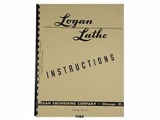 "Logan 10"" Lathe Models 200, 201, 210, 211 Instructions & Parts List Manual *1063"