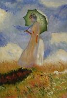 Hand Painted Oil Painting Repro Claude Monet Woman with a Parasol 24x36in