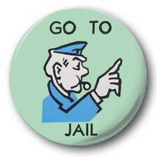GO TO JAIL - 1 inch / 25mm Button Badge - Monopoly Board Game Novelty Fun