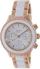 Nuevo Dkny Blanco Cerámica Rosa Oro Acero Inoxidable Pulsera Reloj de mujer NY8825