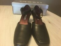 Mods Spana Black Leather ankle strap wedge closed toe NEW with box size 8 1/2 m