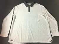 Adidas New Mens Gray Long Sleeve Polo Rugby Shirt Size 2XL