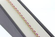 """14K Yellow Gold 4.10 TCW Oval Ruby and Diamond Tennis Bracelet - 7.25"""""""