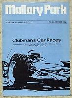 MALLORY PARK 7 Nov 1971 BRSCC CLUBMANS CAR RACES Official Programme