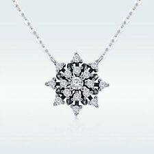 Vintage Snowflake Solid 925 Sterling Silver Pendant Necklace Women Chain Jewelry