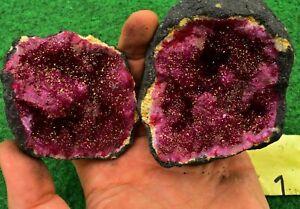 Quartz Geodes Coloured Whole-Matching-Pair, Sugar- Quartz UK BUY✔ 8cm #3