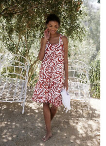 Anthropologie Maeve Ionia Mini Dress Red Floral Sz Small Petite