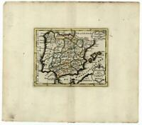 Spain & Portugal c.1780 Holtrop miniature Dutch engraved map old hand color