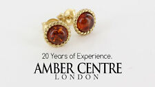 Italian Made Elegant Classic Baltic Amber Studs In 9ct Gold GS0041 RRP£120!!!
