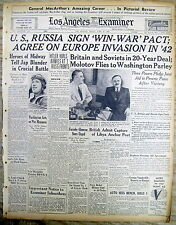 1942 hdl newspaper US & RUSSIA sign pact as ALLIES in WW II against NAZI GERMANY