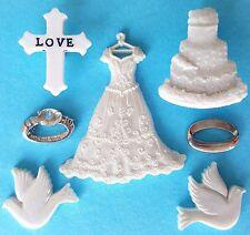 WEDDING - White Dove Cake Rings Love Cross Church Dress It Up Embellishments