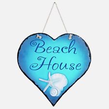 Beach House Shell Seashell Starfish Slate Wall Plaque Sign Beach Nautical Decor