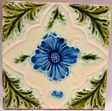 TILE ENGLAND MAJOLICA ART NOUVEAU PORCELAIN FLOWER PURPLE GREEN LEAF COLLCTI#156