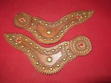 New ListingPair Of Antique Spur Straps,Gull Wing Style Tooled And Covered With Brass Spots