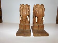 Vintage Hand carved wooden elephant book ends 5.5 in tall 2.5 in wide Base 4 in