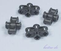 LEGO Technik - 4 x Achs - Verbinder dreifach perldunkelgrau 2x3 / 11272 NEUWARE